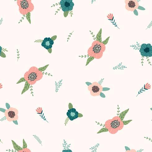 Patrón floral sin fisuras Diseño vectorial para papel, portada, tela, decoración interior.