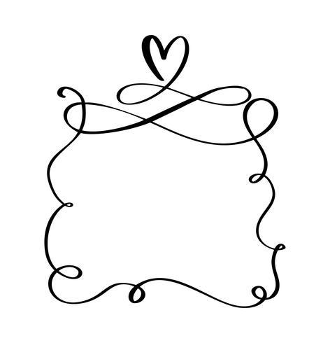 Dessinés à la main cadres vintage cite avec cœur pour la Saint-Valentin ou une phrase de vacances romantique S'épanouir illustration vectorielle avec un espace pour votre texte