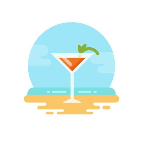 Cóctel de naranja con menta en el icono de playa plana