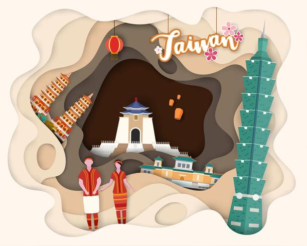 Design de corte de papel de viagens turísticas Taiwan