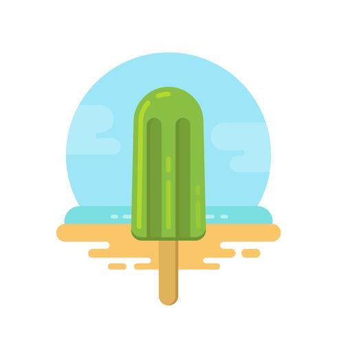 Popsicle vert sur l'icône plate de la plage