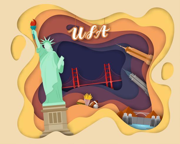Diseño de corte de papel de Tourist Travel USA.