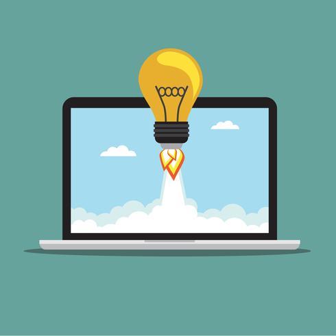 Bulb raket op de laptop