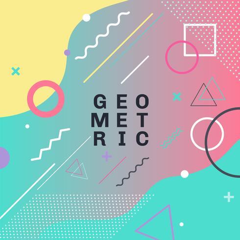Abstracte kleurrijke geometrische vormen en vormen trendy het ontwerpachtergrond van de de manierkaart van maniermemphis. U kunt gebruiken voor poster, brochure, lay-out, sjabloon of presentatie. vector