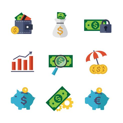 Set di icone di finanza e bancari