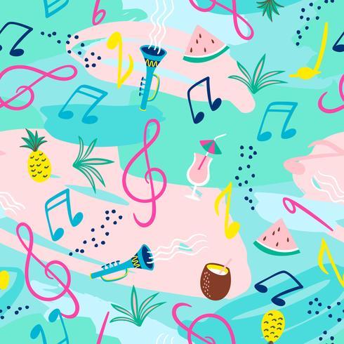 Sömlöst mönster med noter, instrument och sommar symboler. Vektor