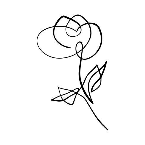 Main en ligne continue de dessin vectoriel calligraphique fleur rose beauté logo logo. Élément de design floral printemps scandinave dans un style minimal. noir et blanc
