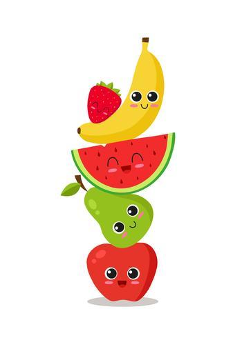 Frutas lindas apiladas vector