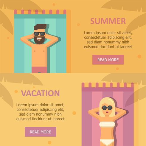 Man and woman sunbathing at the beach banners vector