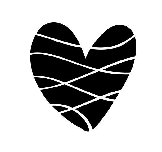 Ilustración vectorial Corazón escandinavo en estilo de minimalismo. Vector de amor caligrafía romántica signo. Icono dibujado mano para el día de San Valentín. Símbolo del concepto para la tarjeta de felicitación, cartel de la boda