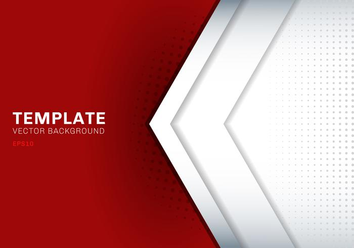 Mall vit pil överlappar med skugga på rött bakgrund utrymme för text och meddelande konstverk design teknik koncept. vektor