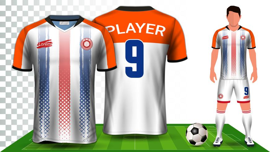 Modèle de maquette de présentation de kit de football et de football. vecteur