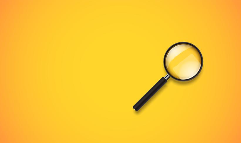 Realistic clean and colorful magnifying glass, vector illustration