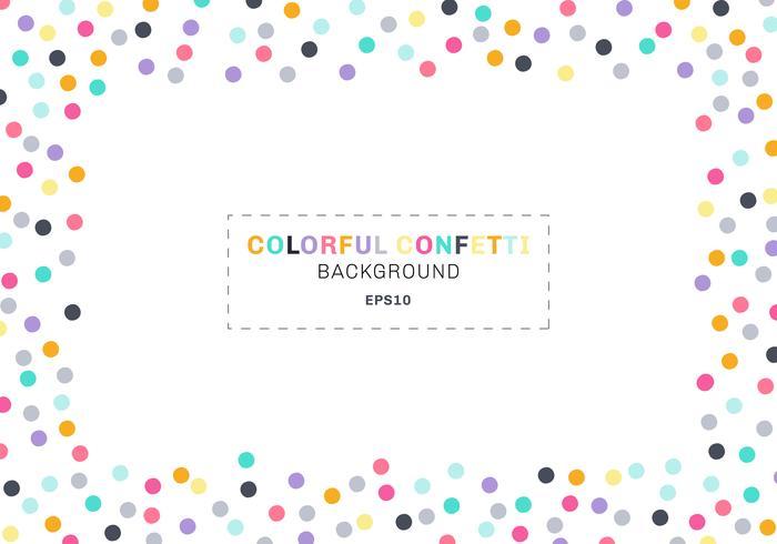 Het abstracte kleurrijke kader van de confettienrechthoek op witte achtergrond met ruimte voor tekst. U kunt gebruiken voor wenskaarten, banners, posters, brochures, afdrukken enz