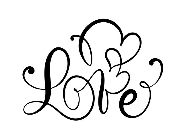 Love calligraphic vector text with romantic hearts. Handwritten ink lettering valentine concept. Modern brush calligraphy, Isolated on white background