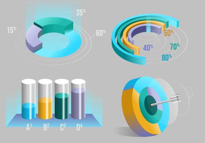 techno 3d infographic element vector set