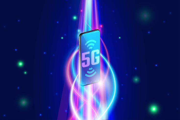 Snel 5g draadloos netwerk op smartphoneconcept, volgende generatie van internet en internet van dingen vector