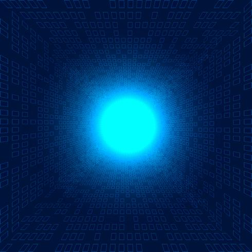 Abstract big data squares pattern futuristic transfer data perspective on blue background with Impact of light explosion technology concept.