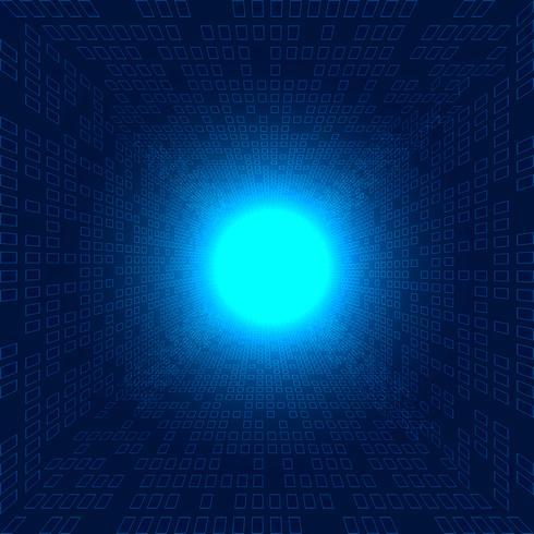 Prospettiva futuristica di dati di trasferimento del modello dei quadrati di grandi dati astratti su fondo blu con impatto del concetto leggero di tecnologia di esplosione.
