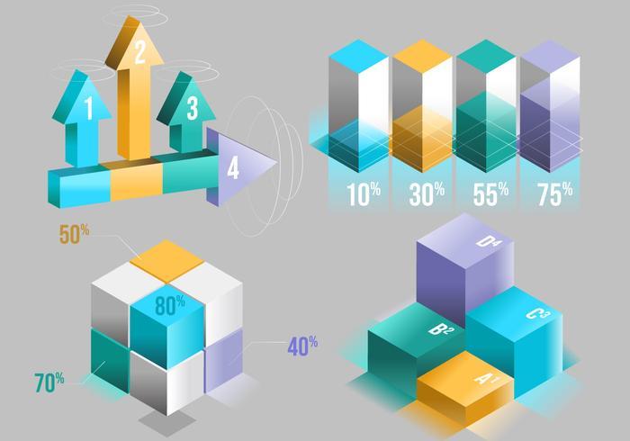 Insieme di vettore degli elementi di Techno 3D Infographic