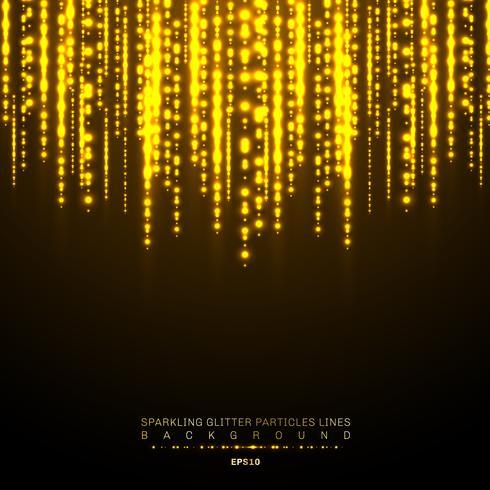 Guld ljus glänsande vertikal linje glitters festivalen på mörk bakgrund. Gyllene julkonfetti skinnande ljusmönster. Magiskt regn av glittrande glitterpartiklar