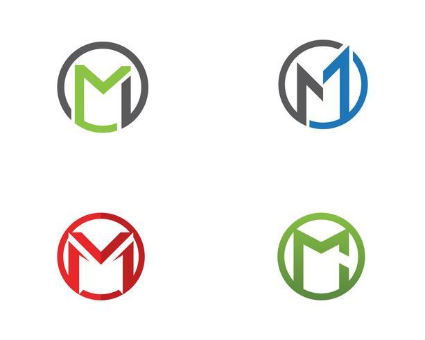 M carta modelo de logotipo