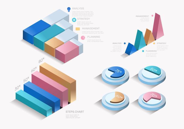 Colorido moderno 3D infografía elementos Vector conjunto
