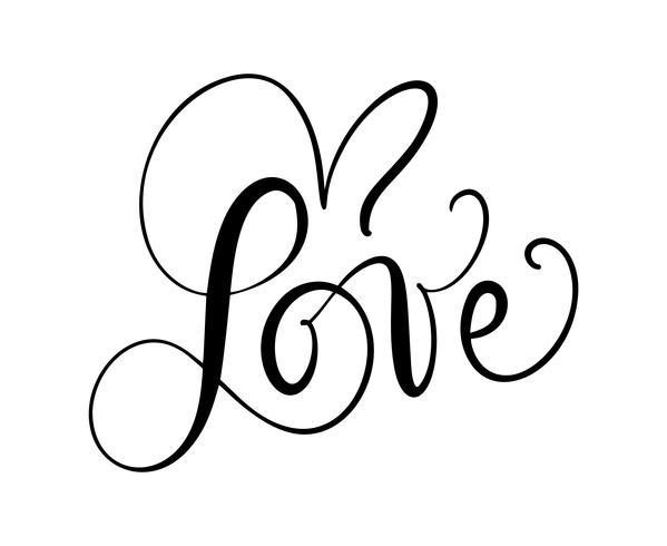 Älska kalligrafisk vektortext med romantiska hjärtan. Handskriven bläckbokstäver valentinkoncept. Modern pensel kalligrafi, Isolerad på vit bakgrund vektor