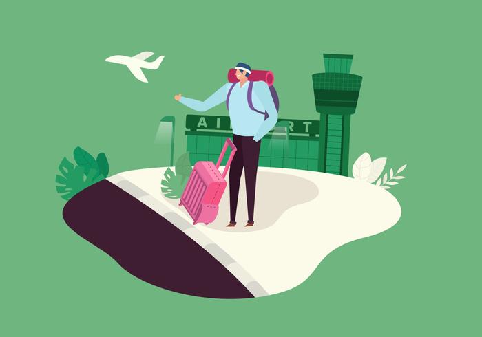 Male Traveler In Airport Vector Illustration