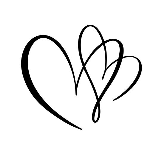 Calligraphy vector two Heart love sign. Romantic Hand drawn icon of valentine day. Concepn symbol for t-shirt, greeting card, poster wedding. Design flat element illustration