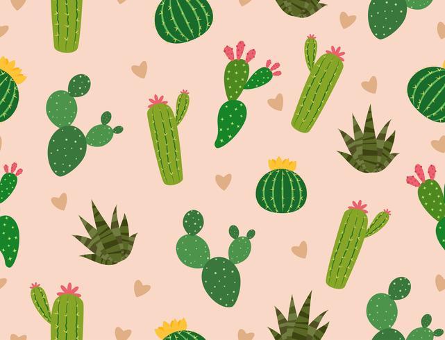 Patrón sin fisuras de muchos cactus con mini corazón en el fondo - ilustración vectorial