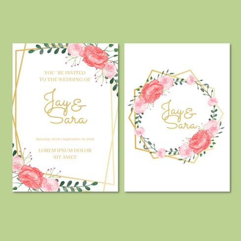 Bröllopsinbjudningsmall med blommor