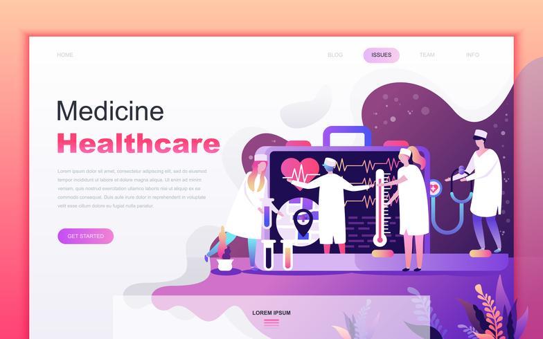 Concetto di design moderno fumetto piatto di Medicina e Sanità per lo sviluppo di applicazioni web e mobile. Modello di pagina di destinazione. Carattere di persone decorate per pagina web o homepage. Illustrazione vettoriale