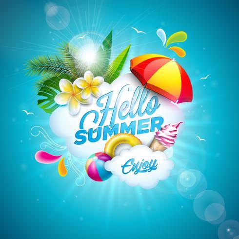 Vector Bonjour Illustration de vacances d'été avec fleur et ballon de plage sur fond bleu de l'océan. Plantes tropicales, flotteur, feuilles de palmier, crème glacée et parasol