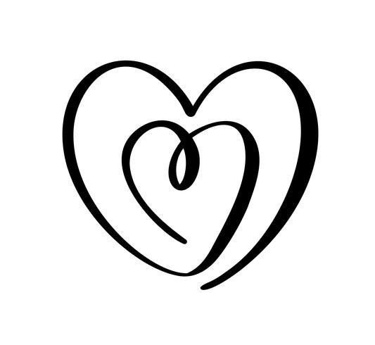 Herz-Liebeszeichen des Kalligraphievektors zwei. Romantische Hand gezeichnete Ikone des Valentinstags. Concepn Symbol für T-Shirt, Grußkarte, Plakathochzeit. Flache Elementillustration des Designs vektor