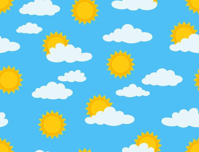 Vectorillustratie van zonnig en bewolkt naadloos patroon op blauwe hemelachtergrond