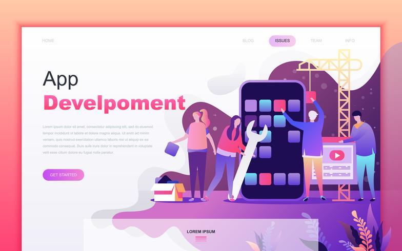 Modern platte cartoon ontwerpconcept van app-ontwikkeling voor de ontwikkeling van website en mobiele app. Bestemmingspaginasjabloon. Ingericht mensenkarakter voor webpagina of homepage. Vector illustratie.