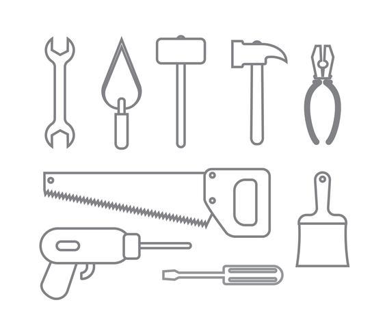 samling av uppsatta ikoner byggverktyg konturer stil