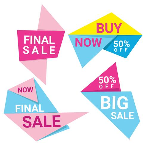 Abstrac Origami Sale Banners Vector