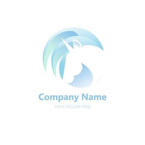 Logo med en enhörning för ditt företag. Pegasus Ikon. Gradient vektor platt linje illustration.