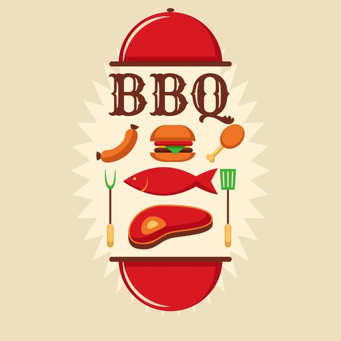 póster retro de barbacoa vector