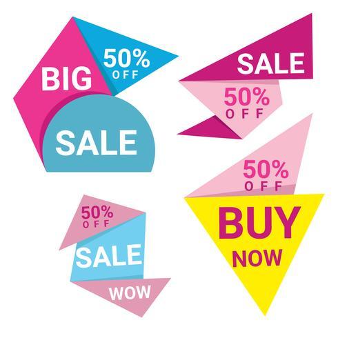 Bannières colorées pour la vente d'origami Abstrac