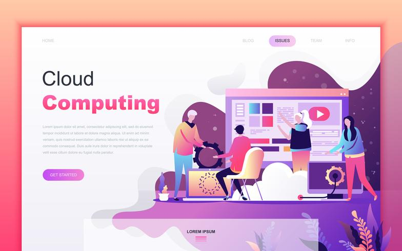 Modern flat cartoon design concept of Cloud Computing for website and mobile app development. Landing page template. Decorated people character for web page or homepage. Vector illustration.