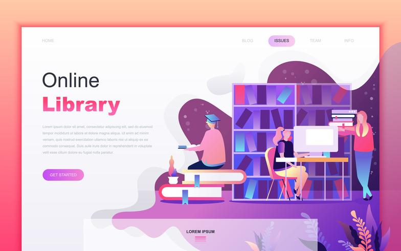 Modern flat cartoon design concept of Online Library for website and mobile app development. Landing page template. Decorated people character for web page or homepage. Vector illustration.