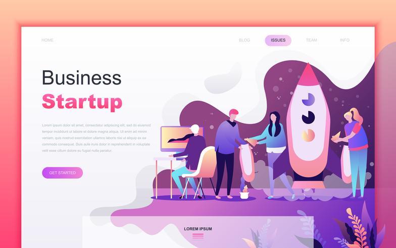 Modernt platt tecknade designkoncept för att starta ditt projekt för utveckling av webb-och mobilapplikationer. Målsida mall. Inredda personer karaktär för webbsida eller hemsida. Vektor illustration.