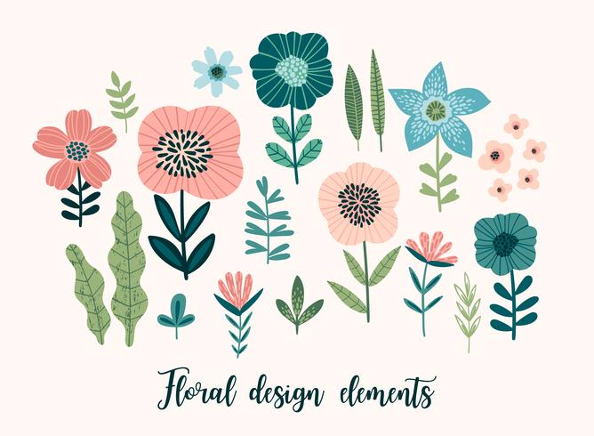 Vector floral design elements. Leaves, flowers, grass, branches, berries.