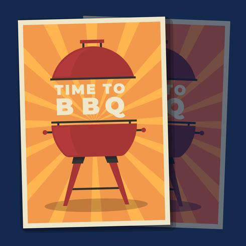Grill Menu Barbecue op Oranje Achtergrond Poster Illustratie Sjabloon