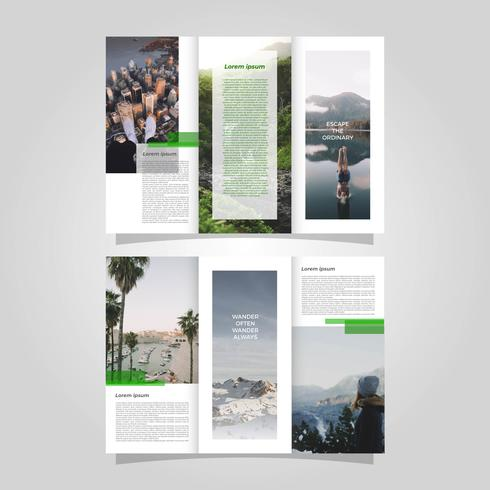 Plantilla de Vector de folleto de aventura plana