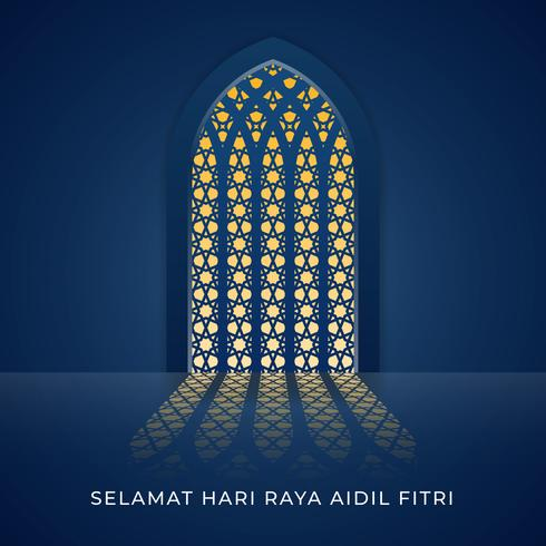 Selamat Hari Raya Aidilfitri moské fönster illustration