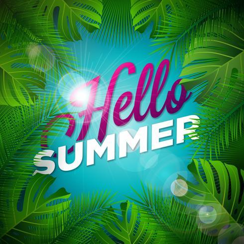 Hola ilustración de verano con letra de tipografía y plantas tropicales sobre fondo azul marino. Vector diseño de vacaciones con hojas de palmeras exóticas y Phylodendron